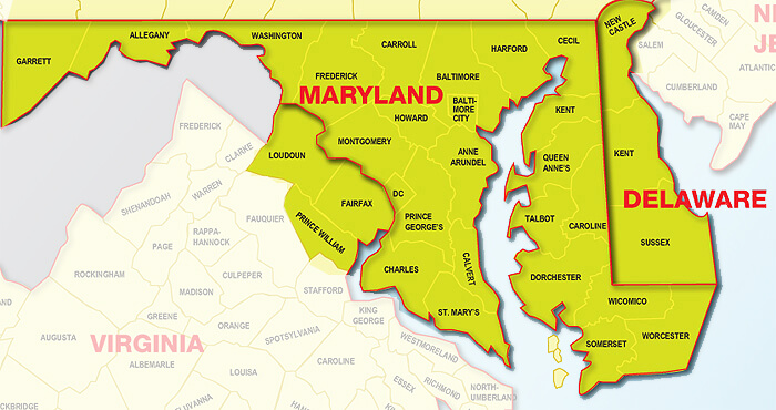 Map of Maryland and Virginia area with counties